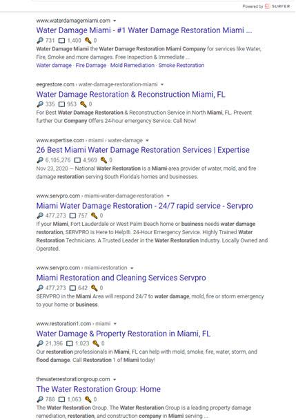 Miami Water Damage SERP